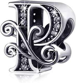 Argento Anti-sensibile Alfabeto Perline Lettera Iniziale A a Z Charm per Serpente Catena Collana Braccialetto, Regalo Spec...