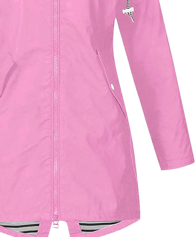 Women Casual Solid Jacket Outdoor Plus Size Hooded Windproof Loose Coat Raincoat