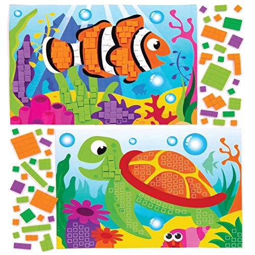 "Baker Ross Mosaik-Bastelsets ""Meerestiere"" (4 Stück) – selbstklebende Mosaike für Kinder"