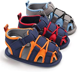 Isbasic Baby Boys Girls Summer Beach Breathable Athletic Closed-Toe Sandals Soft Sole Anti-Slip Toddler First Walker Shoes