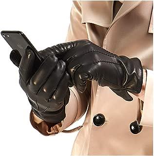 Mens Luxury Italian Sheepskin Leather Gloves Vintage Finished Cashmere Wool Lined