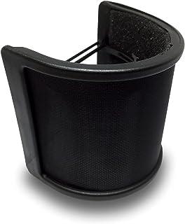 【CONYCONY】マイクポップガード 金属ネット層 ウインドスクリーン ノイズ防止 マイクフィルタ 45mm-63mmのマイク対応 弾力ゴムバンド付属 (ブラック)