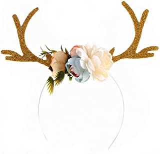 HHmei Christmas Cute Headband Santa Xmas Party Decor Double Hair Band Clasp Head Hoop Decorations Outdoor Tree Table Lights Blue Home Set Silver Wall Ornaments Party Tableware 85B