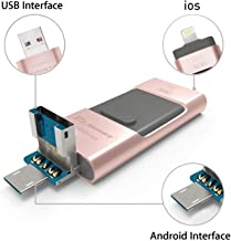 USB 3.0 32 GB Pendrive, Dr.Memory 3 en 1 Memoria Flash USB Lápiz Drive OTG para iPhone, iPad, Android, PC (Oro Rosa)