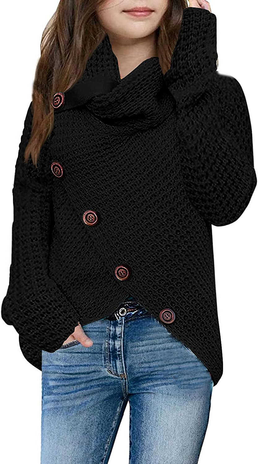 Max 50% Over item handling ☆ OFF Haloumoning Girls Sweaters Button Turtle Asymmetric Cowl Neck He
