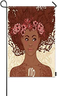 Mugod Beautiful Girls Garden Flag Zodiac Beautiful Brown African American Girls with Flowers and Tattoo Decorative Spring Summer Outdoor House Flag for Garden Yard Lawn 12 x 18 Inch