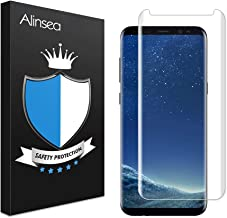 Alinsea Compatible for Screen Protector Samsung Galaxy S8 Tempered Glass [Full Adhesive] [Case Friendly] [3D Glass] [Bubble-Free] Tempered Glass Anti-Scratch Screen Protector