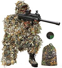 AOIEORD Ghillie Suit for Men, 3D Leafy Ultra-Light Jungle Camo Suit Pants Jacket Woodland Hunting Cloth for Men Hunter Sniper Wildlife Photography, Camouflage with Face Paint Kit & Bag