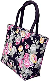 Vektenxi Vektenxi Frauen-Segeltuch-große Kapazitäts-Rosen-Blumen-gedruckte Einkaufen-Handtaschen-Tote-Reißverschluss-Schulter-Tasche - Schwarzes langlebiges Gut und nützlich