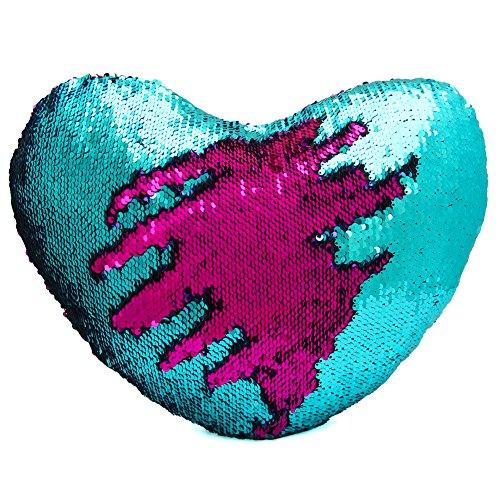 Cojín reversible de Dr Cosy con forma de corazón y diseño de cola de sirena en dos colores con lentejuelas (35 x 40 cm), Lake Blue/Hotpink, 35x40cm