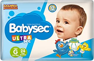 Fralda Babysec Galinha Pintadinha Ultrasec G 24 Unids, Babysec, Azul, G, pacote de 24