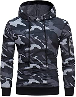 AMSKY Mens Fashion Slim Fit Camouflage Zipper Long Sleeve Hoodie Hipster Sport Cozy Cotton Sweatshirts Outwear Pullover