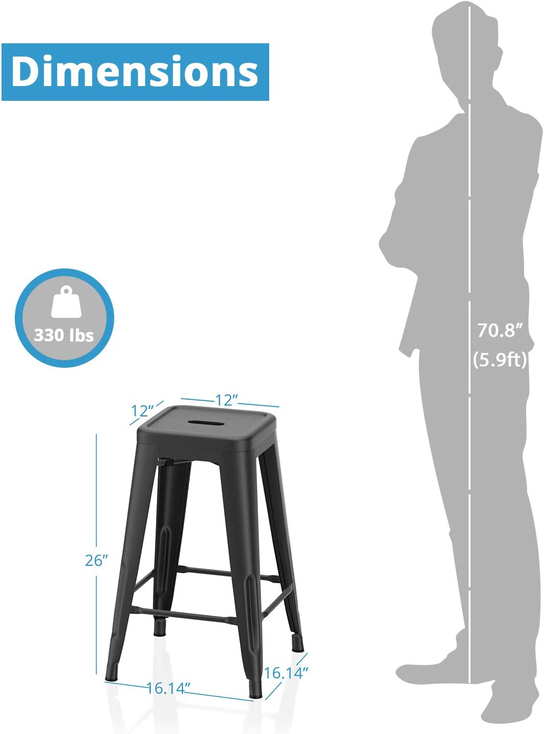VIPEK 26 Inch Barstools Counter Height Metal Bar Stools 26 Indoor Outdoor Use Industrial Counter Stools Backless Stackable Stools Kitchen Dinning Bar Chairs Gloss Black Set of 4