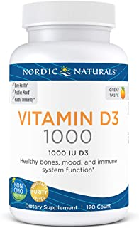 Nordic Naturals Vitamin D3-25 mcg (1000 IU), Daily Dose of Vitamin D3 Supports Bone Health and Immune System Function, Helps Regulate Mood and Sleep Rhythms, Orange, 120 Count