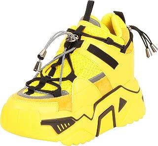 Cambridge Select Women's Retro 90s Ugly Dad Chunky Platform High Hidden Wedge Fashion Sneaker