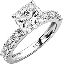 2 Carat 14K White Gold Classic Side Stone Prong Set GIA Certified Princess Cut Diamond Engagement Ring w/a 1 Ct J-K Color SI1-SI2 Clarity Center