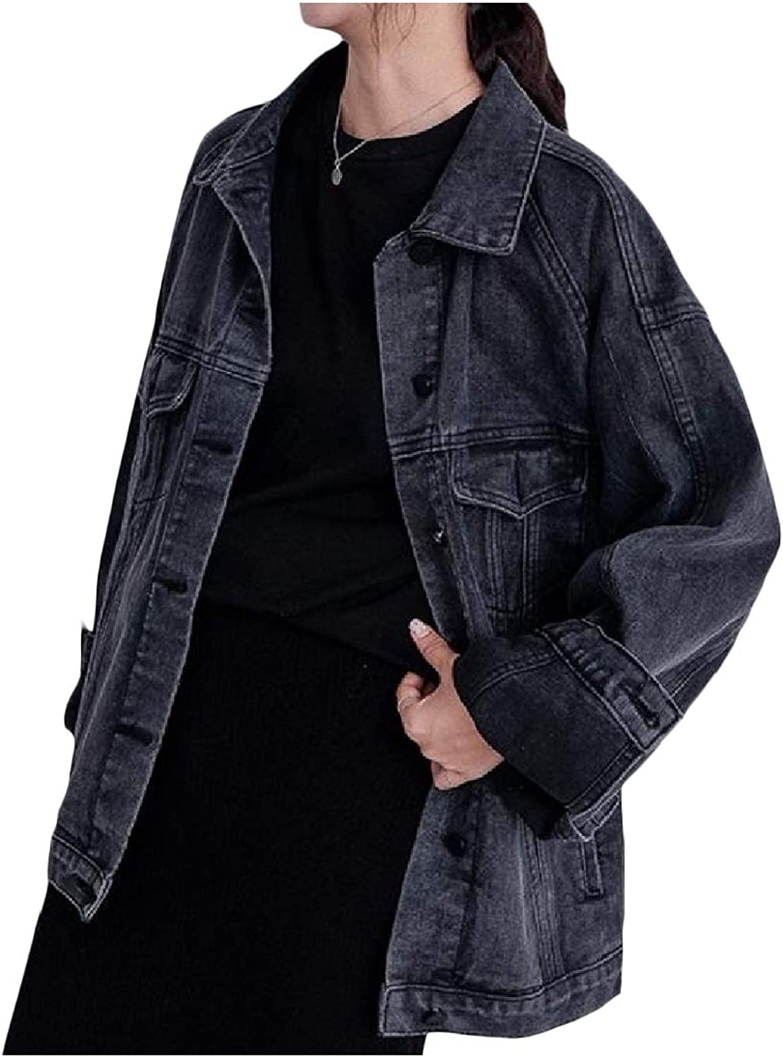 Vska Womens Solid Turn Down Collar Loose Buttons Cardi Denim Jean Bomber Jacket