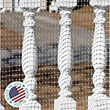 KidKusion Deck Guard - 30' L x 40' H - Made in USA - Outdoor Balcony and Stairway Deck Rail Safety Net - Clear - Child Safety; Pet Safety; Toy Safety
