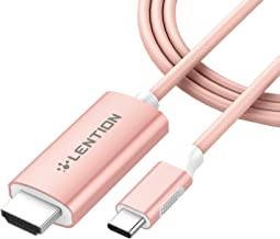 LENTION USB C to HDMI 2.0 Cable Adapter (4K/60Hz) Compatible MacBook Pro (Thunderbolt 3), New iPad Pro and Mac Air, Chromebook, Surface Book 2/Go, Samsung S10/S9/S8/Plus, More (6 Feet, Rose Gold)