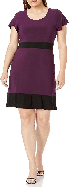 Star Vixen Women's Plus Size Ss Colorblock Skater Dress