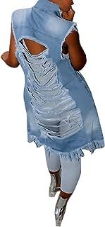 Women's Ripped Button Down Long Sleeveless Open Front Denim Jacket Vest Mini Dress