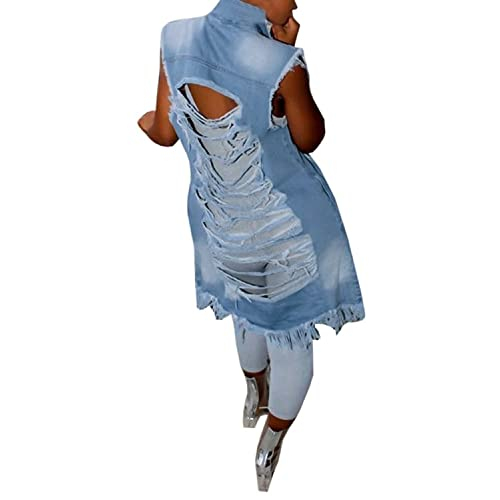 506a8154ce0c3 Imily Bela Women's Ripped Button Down Long Sleeveless Open Front Denim  Jacket Vest Mini Dress at Amazon Women's Clothing store: