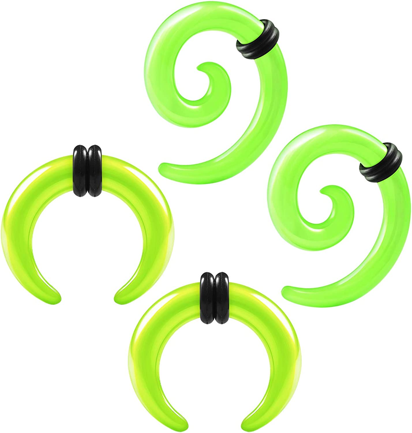 2 Pairs Acrylic Spiral Taper Expander Piercing Jewelry Ear Pincher O-Rings Stretching Earring Plugs Gauges