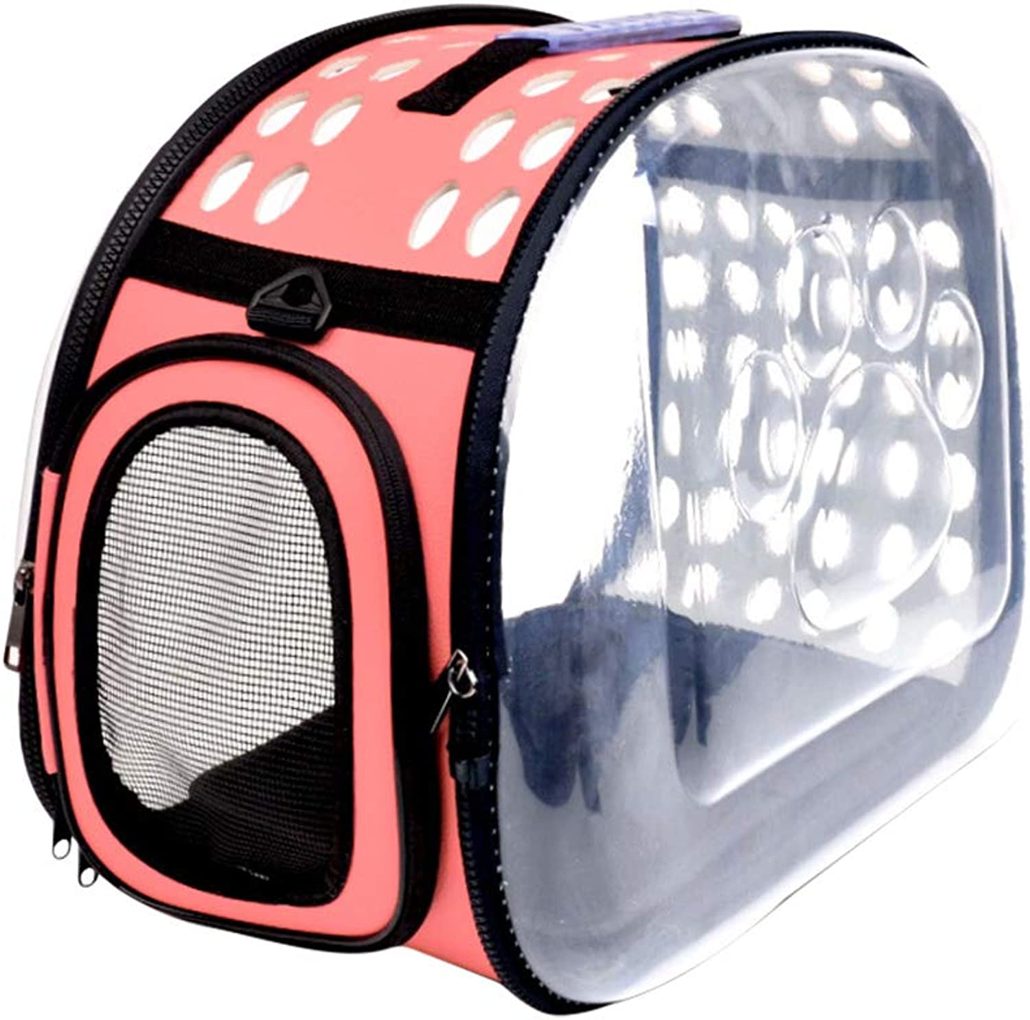 POPETPOP Transparent Pet Carrier Travel Bag Collapsible Cat Transport Bag for Puppy Rabbit Small Animals Pink Size L