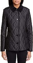 BURBERRY Fernhill Check Trim Monogram Motif Diamond Quilted Jacket in Black