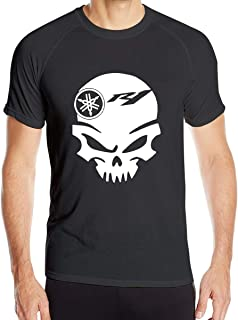 Breathable Personalized Yamaha Motorcycle R1 Skull Logo Quick Drying T-Shirt for Men Short Sleeve Black