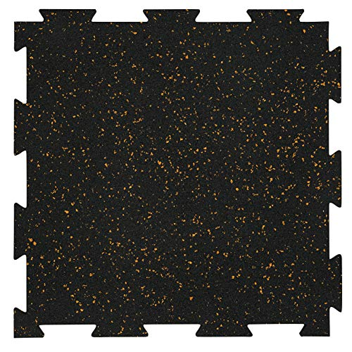 Playsafer Genaflex Lite Rubber 8mm Interlocking Tiles for Gym Flooring, Exercise Equipment, Exercise Areas - 20' X 20' (Tan/Black, 30 Tiles - 81 Sq. Ft)