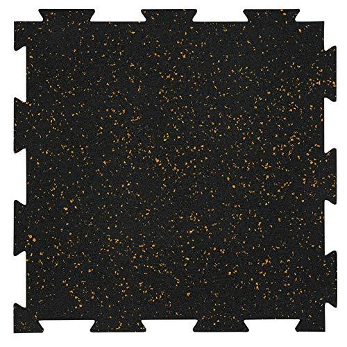 "Genaflex Lite Rubber 8mm Interlocking Tiles for Gym Flooring, Exercise Equipment, Exercise Areas - 20"" X 20"" (Tan/Black, 30 Tiles - 81 Sq. Ft)"