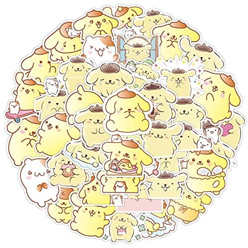 MBGM 50 unids Pudding perro etiqueta linda maleta decoración maleta impermeable dibujos animados lindo personalidad pvc etiqueta