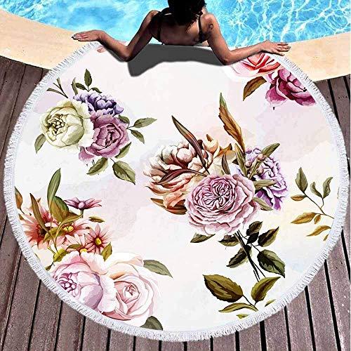 Toallas de playa redondas para niños, claveles, peonías, hojas de flores, flores, patrón de fondo de acuarela, de 152 x 152 cm, toalla de playa grande redonda para niños, mujeres y niños