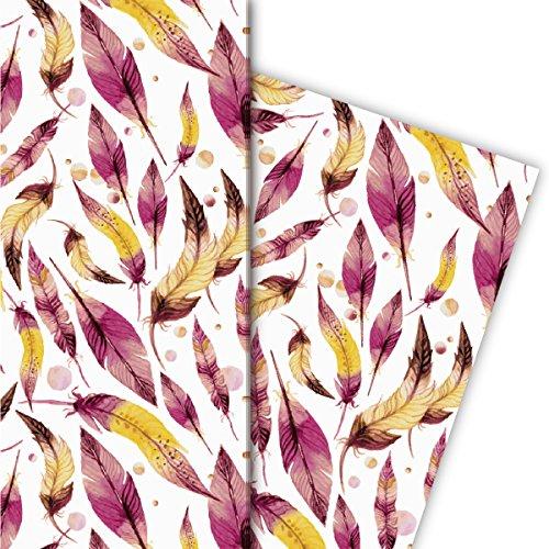 Kartenkaufrausch nobele veer cadeaupapier set voor leuke cadeauverpakkingen, roze geel op wit 4 vellen, 32x47,5 cm, decoratiepapier, inpakpapier om te knutselen