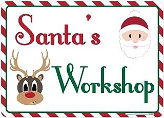Santa's Workshop Sign, Includes Holes, 3M Quality Reflective, Aluminum, 14