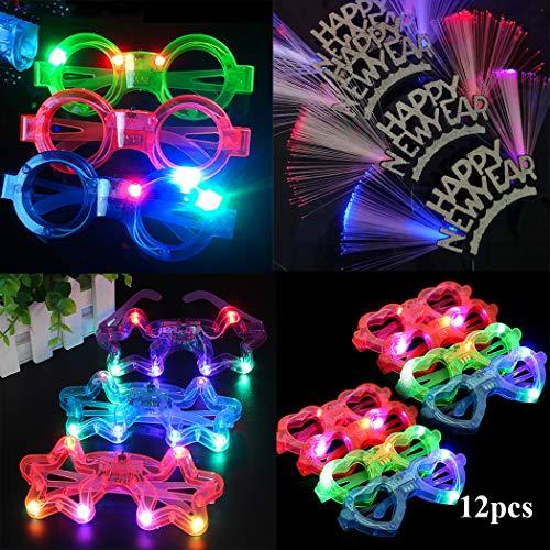 Nieuwjaar lichtgevende speelgoed dressing Glasvezel hoofdband hartvormige ronde lichtgevende bril partij vakantie benodigdheden fiber hoofdband 6, vijfpuntige ster bril, 2 hartvormige bril, 2 ronde glazen