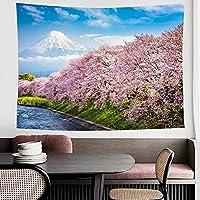 Tibemi 富士山 タペストリー 風景画 花 美しい桜の並木 河川 インテリア 壁掛け 壁飾り 多機能壁掛け 部屋目隠し おしゃれ 布ポスター 和風 玄関 飾り 寝室 カーテン 背景 模様替え 気分転換 新居祝い(150x100)