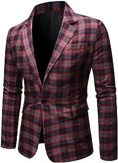 Men's Slim Fit Plaid Blazer Peak Lapel One Button Tuxedos Jacket Prom Party Coat Casual Coat Business Suit Jacket