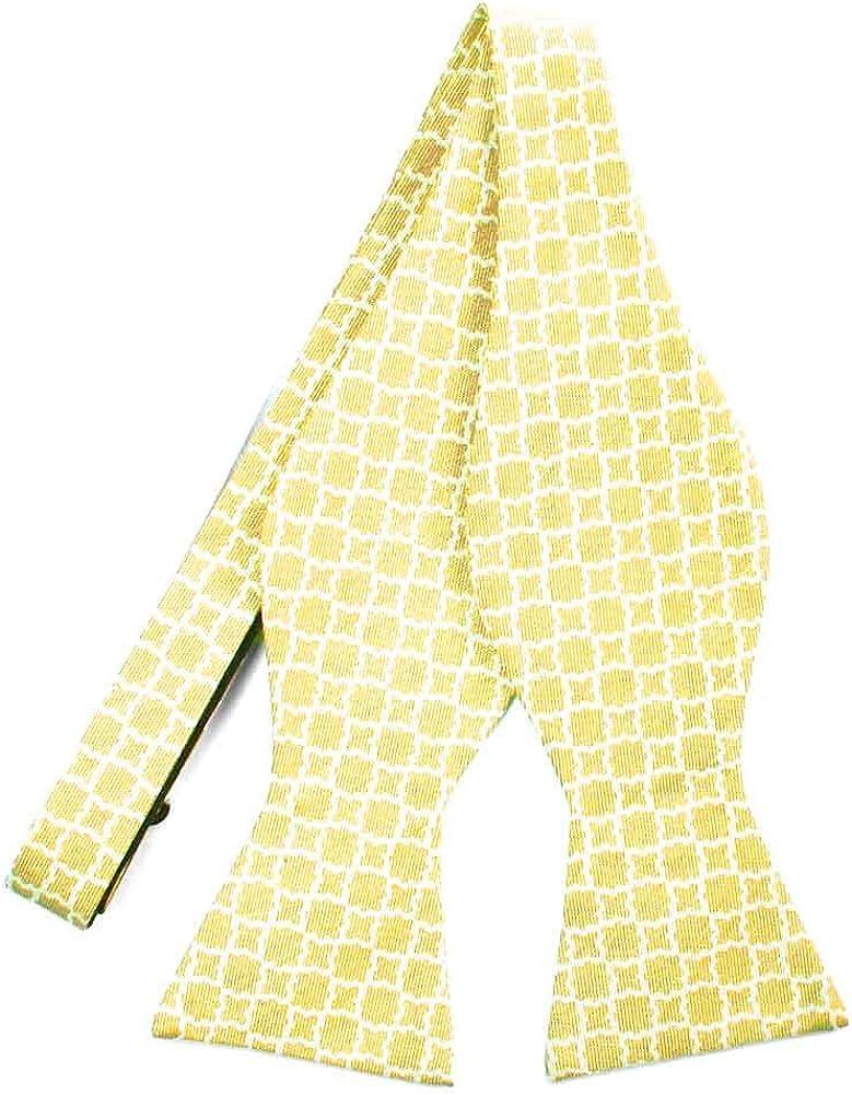 TieMart Regent Morris Saffron Yellow Moroccan Trellis Cotton/Silk Self-Tie Bow Tie
