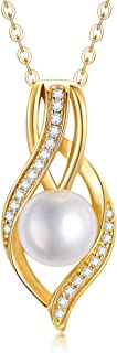 SISGEM Women's Gold Pearl Necklace, 9ct Solid Gold Dainty Infinity Necklace with 7mm Freshwater Cultured Pearl Pendant, for Anniversary Wife Mum Sister, 16+1+1inch