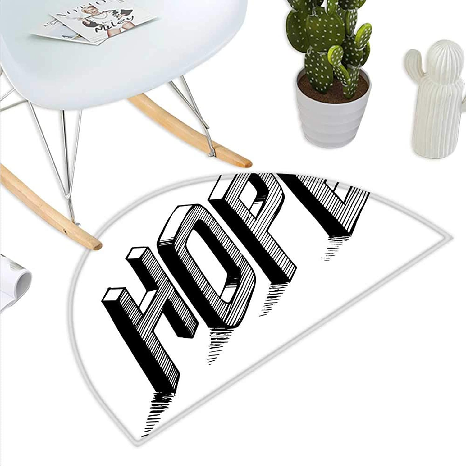 Hope Semicircle Doormat Sketch Letters with Stripes Spelling Hope Hand Drawn Calligraphic Arrangement Halfmoon doormats H 23.6  xD 35.4  Black and White