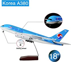 Lose Fun Park 18 Inch Korea A380 Voice-Activated LED Landing Gear Resin Diecast Aircraft Model 1:160