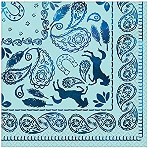 Paisley And Horse-silhouettes Light Blue Beverage Nspkin-16pc