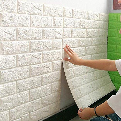 3D Wandpaneele Selbstklebend Steinoptik Tapete 77 X 70 X 0.9 cm Wasserfest Ziegelstein Wandtattoo PVC Verdicht DIY Schaum Panel Weiche Ziegel Anti-Kollision Wandaufkleber,A3