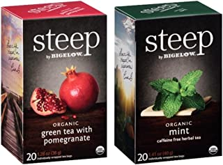 Steep By Bigelow Organic Gluten-Free Non-GMO Tea 2 Flavor Variety Bundle, (1) each: Pomegranate and Mint (20 Count)