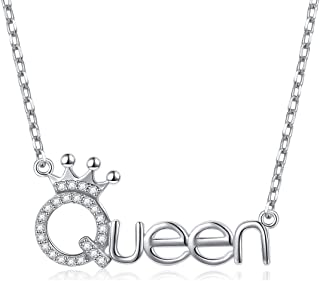 Flyow 925 Sterling Silver White Cz Crown Princess/Queen Pendant Word Charm Necklace for Girlfriend Wife Daughter Granddaughter, 18 Inch + 2 Inch