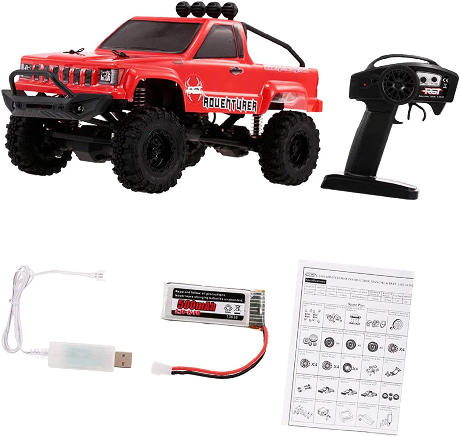 Fityle RGT Remote Control Pickup Truck 1 24 Scale 4WD OffRoad Car Ready to Run RTR  Red