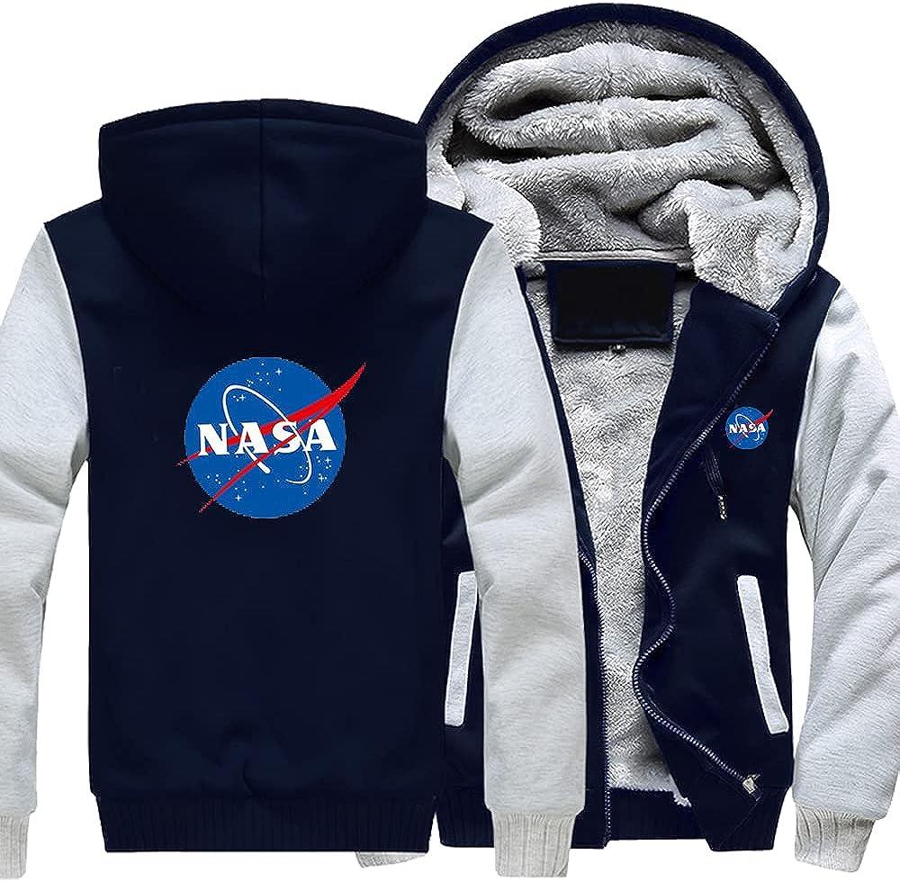 RLJqwad Sudadera de los hombres con cremallera chaqueta con capucha para la NASA 3D LOGO manga larga abrigos cálidos gruesos forro polar uniforme de béisbol Tops
