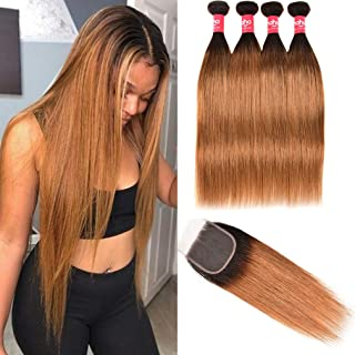 Haha Ombre Bundles with Closure T1B/30 Ombre Brazilian Straight Hair 4 Bundles With Closure 2 Tone Black to Medium Brown Long Virgin Human Hair Weave Bundles with Lace Closure 24 24 26 28+22
